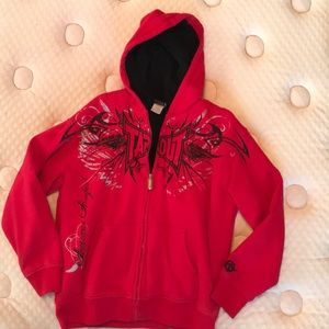 Tap out red zip up hoodie